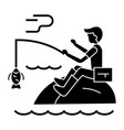 fishing man with rod icon vector image