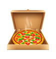 pizza in box isolated on white vector image