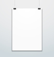 vertical poster suspended on office clips mockup vector image
