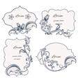 Set floral ornament frame and labels vector image