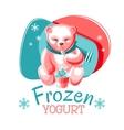 Bear Eating Frozen Yogurt vector image