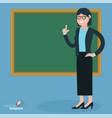 Flat design teacher at the blsckboard vector image