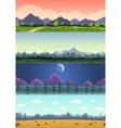 parallax landscape cartoon seamless backgrounds vector image