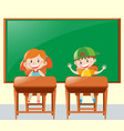 two students in the classroom vector image
