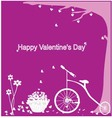Valentine format Bicycles with heart tree vector image