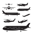 Plane Light Jet Objects silhouette Set vector image