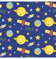 Space Objects Cartoon Seamless Pattern vector image