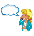 A woman using a phone with an empty cloud template vector image vector image