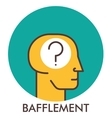 Bafflement question mark Line icon with flat vector image