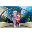 Grandmother and kid at aquarium vector image