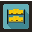 Shelves with cardboard boxes icon flat style vector image