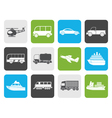 Flat Travel and transportation icons vector image vector image
