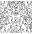 black damask seamless pattern hand drawn vector image