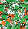 seamless pattern with holiday symbols Patrick vector image