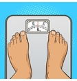 Man feet on the floor scales pop art style vector image