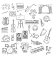 Entertainment and visual arts sketch icons vector image vector image
