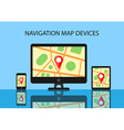 Map and navigation software for modern devices vector image