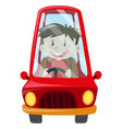 boy driving red car vector image