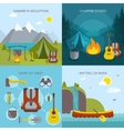 Camping Square Icons Set vector image