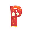cartoon character monster letter p vector image
