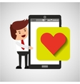 character with mobile app heart sign vector image