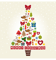 Christmas tree of characters and decorations vector image