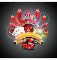 on a casino theme with roulette wheel vector image