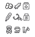 Outline medical icons set vector image