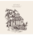 sepia hand drawing of Cetinje monastery - ancient vector image