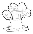 Tree house icon outline style vector image