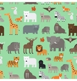 Zoo animals flat style seamless pattern vector image