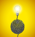 Light bulb and tangled wire on yellow background vector image