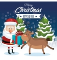merry christmas and happy new year santa reindeer vector image