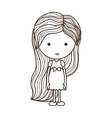 silhouette girl with dress and striped hair vector image