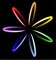 Neon rainbow flower vector image vector image