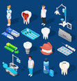 dental work elements set vector image vector image