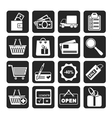 Silhouette Shopping and website icons vector image vector image