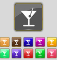cocktail icon sign Set with eleven colored buttons vector image