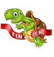 Cartoon turtle wins by crossing the finish line vector image