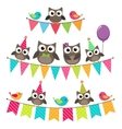 Birthday bunting with owls vector image vector image