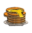 delicious pancakes maple syrup sketch vector image