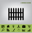 fence simple sign black icon at gray vector image