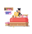 Girl with laptop in bedroom vector image