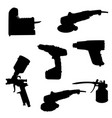 silhouette tools set vector image