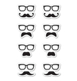 Geek glasses and moustache or mustache labe vector image vector image