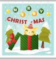 Merry Christmas Greeting Card with cat inside gift vector image