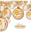 Orange Christmas balls with ribbon and bows vector image
