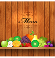 Shelves wooden fruit2 vector image vector image