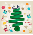 Twirled ribbon Christmas tree card design vector image