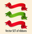 set of red and green festive ribbons vector image vector image